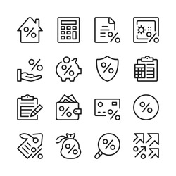Loan line icons set. Credit, interest rate, investing. Modern linear graphic design concepts, simple outline elements collection. Vector line icons