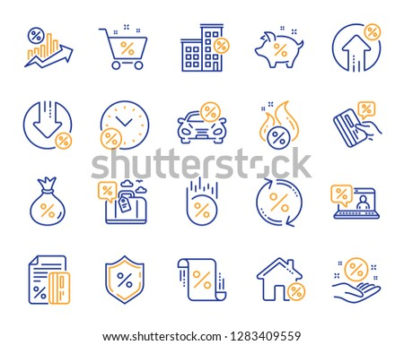 Loan line icons. Set of Investment, Interest rate and Percentage diagram linear icons. Car leasing, analytics plan, Credit card percent and loan rate. Bank mortgage, leasing, interest graph. Vector