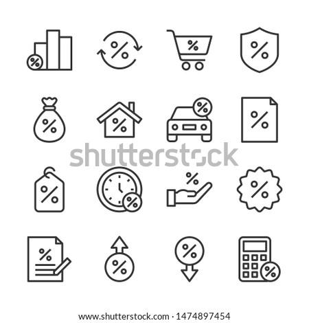 Loan line icons set vector illustration