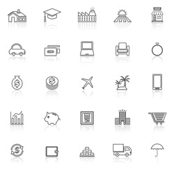 Loan line icons with reflect on white background, stock vector