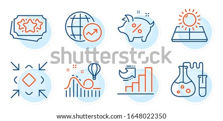 Loan percent, Growth chart and World statistics signs. Minimize, Sun energy and Roller coaster line icons set. Loyalty points, Chemistry lab symbols. Small screen, Solar panels. Vector