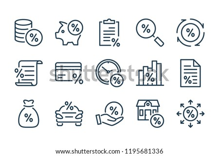 Loan, tax and fees line icons. Vector linear icon set.
