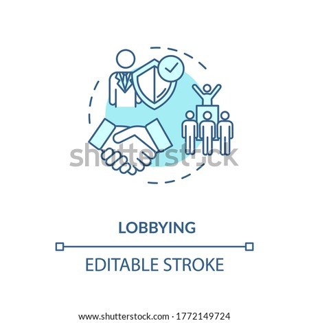 Lobbying turquoise concept icon. Social interest representation idea thin line illustration. Government persuasion. Legislators agreement. Vector isolated outline RGB color drawing. Editable stroke Stock photo ©