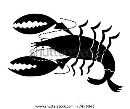 Lobster Icon - Retro Clipart Illustration