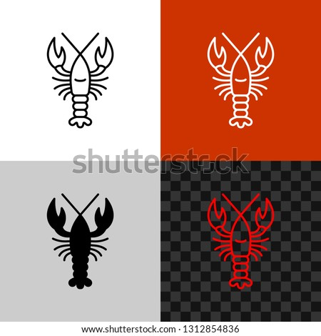 Lobster icon. Simple line style lobster or crayfish silhouette. Seafood symbol. Editable outline width. Сток-фото ©