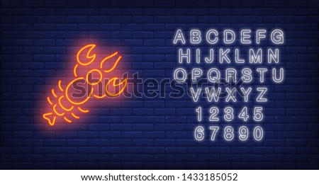 Lobster on brick background. Neon style illustration. Beer snack, seafood restaurant, seafood shop. Food banner. For delicatessen, marine life, market concept