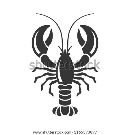 Lobster Silhouette Icon on White Background. Vector