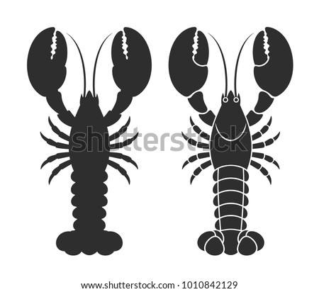 Lobster silhouette. Isolated lobster on white background. EPS 10. Vector illustration