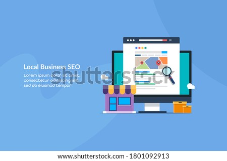 Local business SEO, Small Business SEO, eCommerce SEO service - conceptual flat design vector illustration with icons and texts