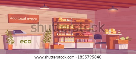 Local eco store empty interior, grocery shop with ecological production on wooden shelves. Dairy products, homemade sausages, bakery and honey, farmer food retail place, Cartoon vector illustration