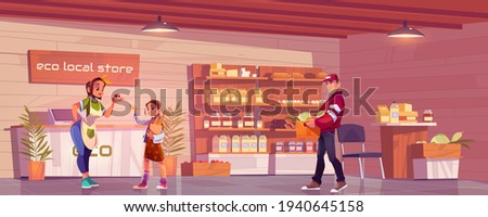 Local eco store with customer, vendor and porter Сток-фото ©
