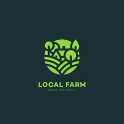 Local farm logo design template. Vector illustration.