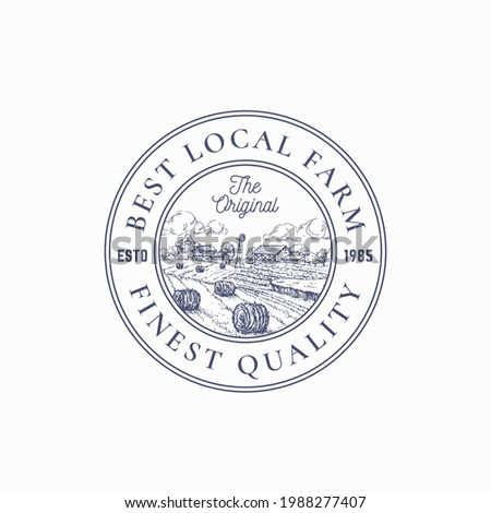 Local Farm Products Retro Frame Badge or Logo Template. Hand Drawn Rural Farm Landscape Sketch with Windmill, Haystack, Retro Typography and Borders. Vintage Sketch Emblem. Isolated. Stock photo ©