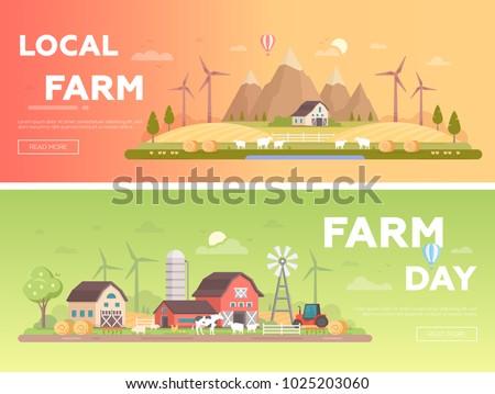 local farm   set of modern flat