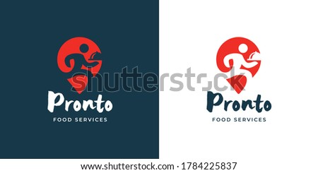 Local food delivery logo template design. Man running with meal dish icon. Restaurant deliver emblem. Catering company services sign. Vector illustration.
