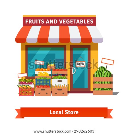 Local fruit and vegetables store building. Groceries crates in front of storefront. Flat isolated vector illustration on white background.