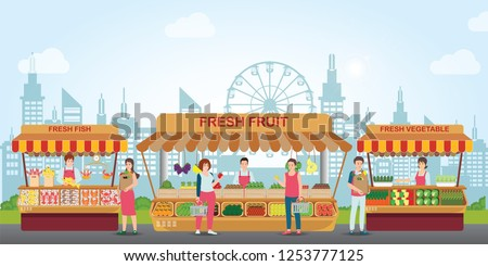 Local market place with fresh foods, Fish market, fresh fruit and vegetable on city view background, Cartoon characters flat style vector illustration. ストックフォト ©