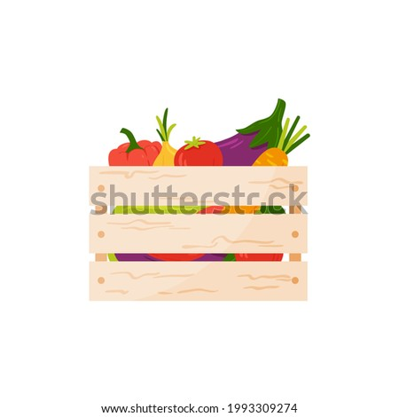 Local market wooden box - farmed organic summer vegetables. Hand-drawn vector vegetables in cartoon style - eggplant, paprika, tomato, onion, carrot in cargo box, ready for delivery. White background