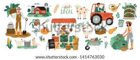 Local organic production set. Agricultural workers planting and gathering crops, working on tractor, farmer selling fruits and vegetables, farm animals, farmhouse. Flat cartoon vector illustration.