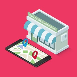 Local search marketing ecommerce. Graphic concept for your design