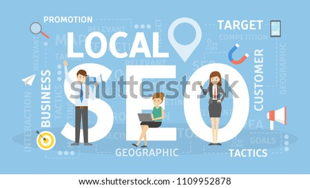 Local SEO concept illustration. Idea of business and promotion.