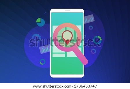 Local SEO flat vector illustration concept. Search Engine Optimization Marketing results based on client geo-positioning and regional. Advertising a local seo store through inbound marketing process.