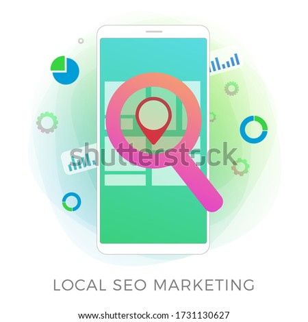 Local SEO Marketing flat vector icon concept. Search Engine Optimization results based on regional and client geo-positioning. Advertising a local business store through inbound marketing process.