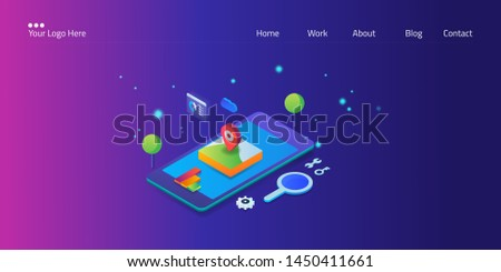 Local seo marketing, Local map optimization, Shopping address on mobile screen - 3D, isometric vector illustration with marketing icons
