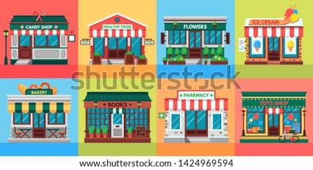 Local shops facades. Grocery shop doors, old boutique store building front and retail stores facade. Supermarket, bistro or pharmacy building, fruit market, pizza or coffee cafe flat vector set