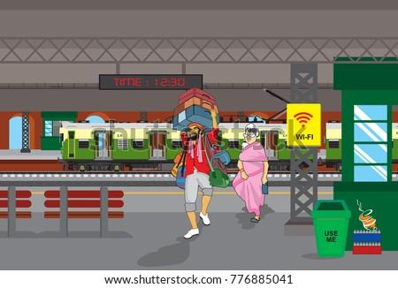 Local Train in Railway station
