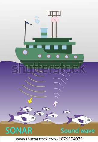 locating fish with sound waves. locating fish with sonar device. Sound waves produced by seismic vehicles. sound waves. sonar device vector