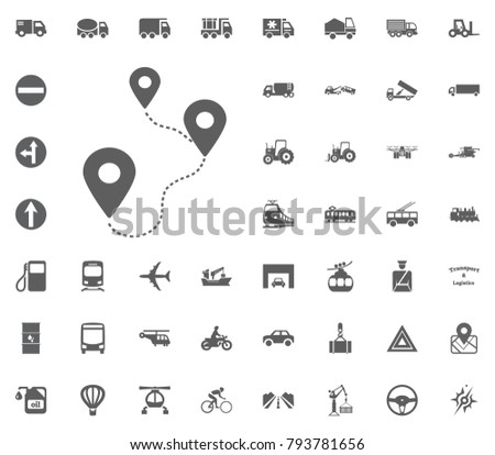 location a to b icon. Transport and Logistics set icons. Transportation set icons.