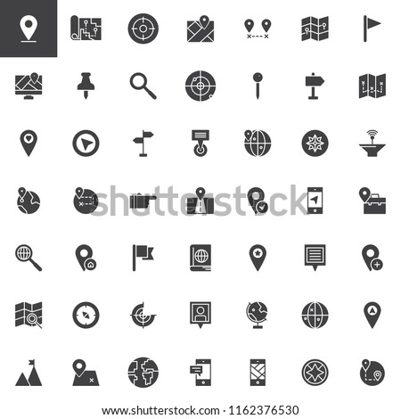 Location and Navigation vector icons set, modern solid symbol collection filled style pictogram pack. Signs logo illustration. Set includes icons as Map Pointer, Route,  Mobile Gps app, Radar, Compass