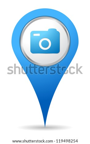 location camera photo icon in blue