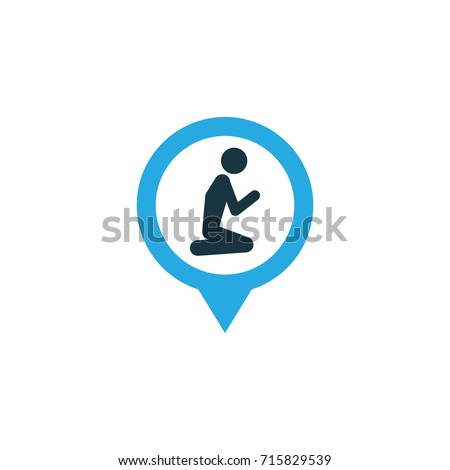 Location Colorful Icon Symbol. Premium Quality Isolated Prayer Place Element In Trendy Style.