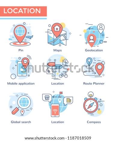 Location concept icons, thin line, flat design
