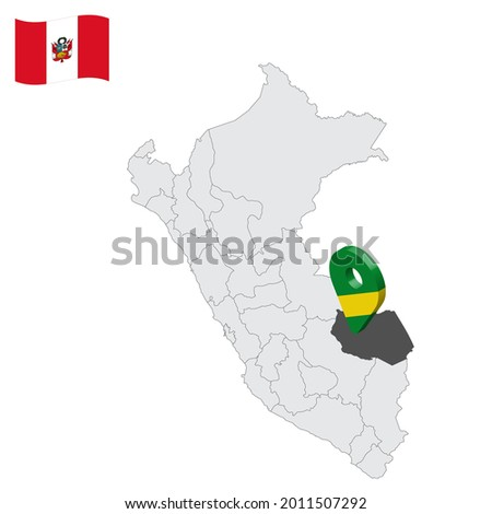 Location Department of Madre de Dios on map Peru. 3d location sign similar to the flag of Madre de Dios. Quality map  with  provinces Republic of Peru for your design. EPS10 Foto stock ©