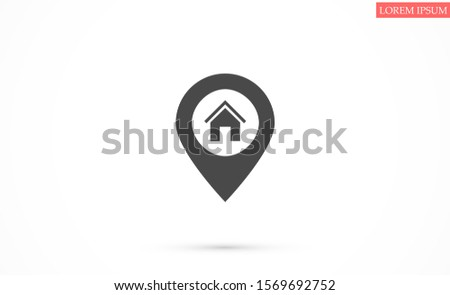 Location icon vector flat with house on white background. Location icon vector illustration.Location icon vector map solid illustration, pictogram Location icon vector isolated on white