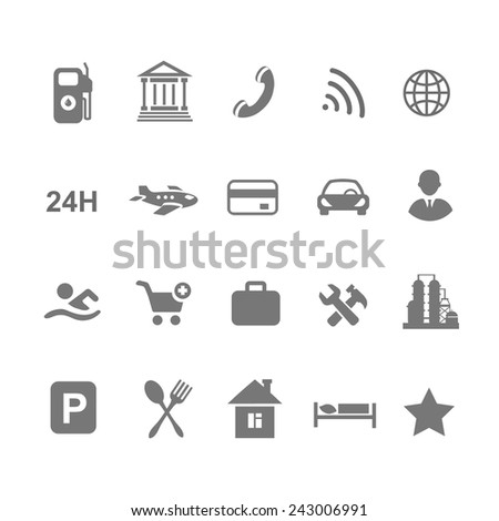 location icons  set isolated on white airport car  shopping restaurant hotel gas station