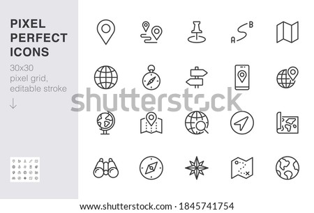 Location line icon set. Compass, travel, globe, map, geography, earth, distance, direction minimal vector illustration. Simple outline sign navigation app ui 30x30 Pixel Perfect Editable Stroke. Photo stock ©