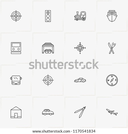Location line icon set with ship, house and petrol station