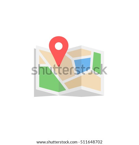 Location map flat design vector icon