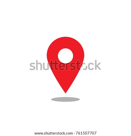 Location map icon, red gps pointer mark