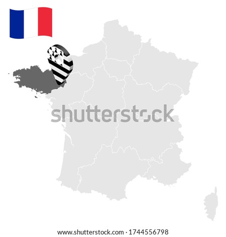 Location of Brittany on map France. 3d location sign similar to the flag of Brittany. Quality map  with regions of  French Republic for your design. EPS10. Stok fotoğraf ©