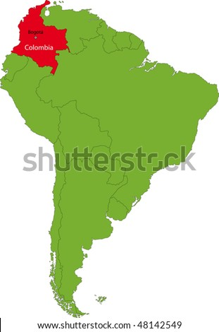 Location of Colombia on the South America continent - stock vector