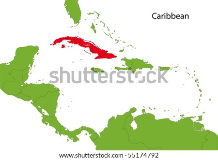Location of Cuba on the Caribbean - stock vector