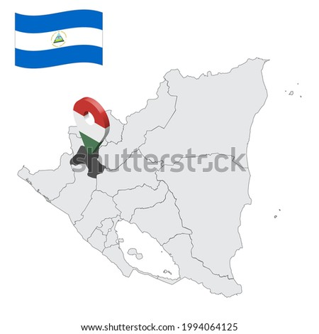Location of  Esteli Department  on map Nicaragua . 3d location sign similar to the flag of Esteli. Quality map  with  provinces of  Nicaragua for your design. EPS10 Foto stock ©