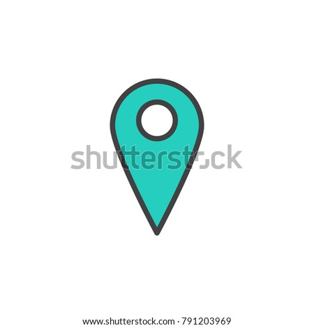 Location pin filled outline icon, line vector sign, linear colorful pictogram isolated on white. Map pointer symbol, logo illustration. Pixel perfect vector graphics
