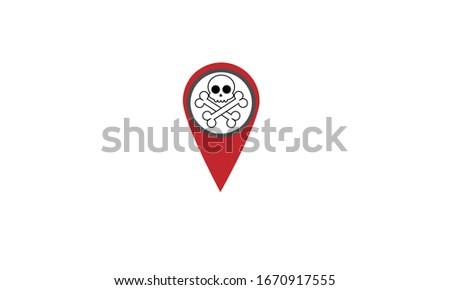 Location pin skull vector logos and icons. Danger pin
