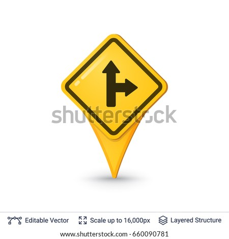 Location pin symbol in shape of road sign. Vector icon.